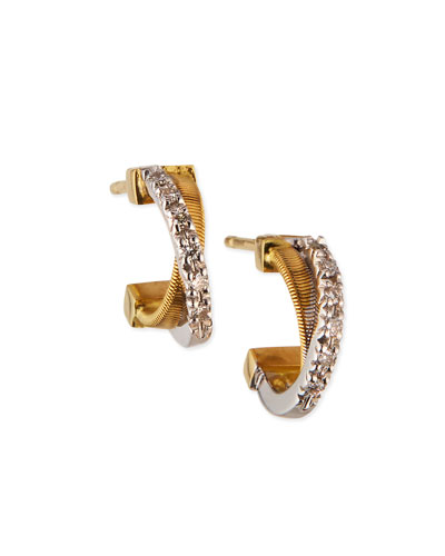 18K Hand-Engraved Gold Diamond Hoop Earrings