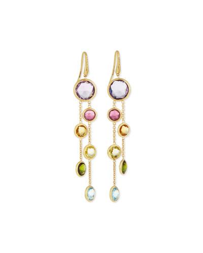 Jaipur 18K Gold Mixed Stone Two-Strand Earrings