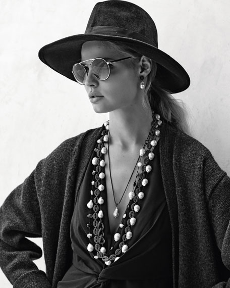 Baroque Pearl & Black Spinel Earrings