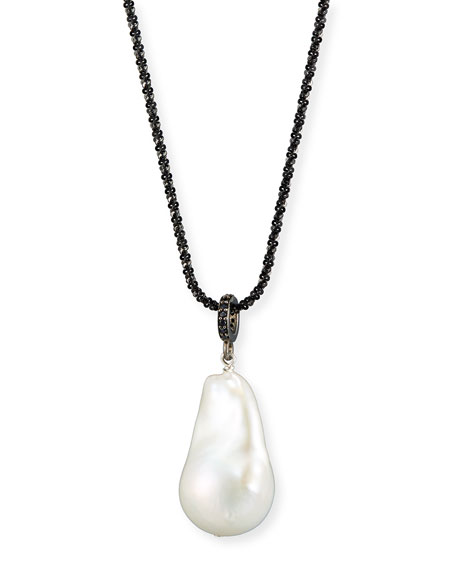 Baroque Pearl Necklace with Black Spinel