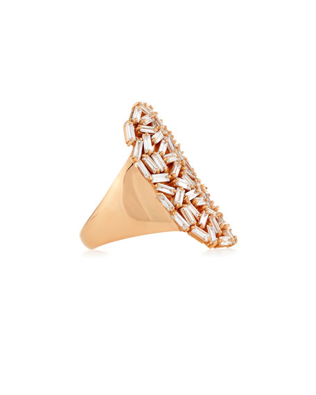 Suzanne Kalan Baguette Diamond Cocktail Ring in 18K Rose Gold
