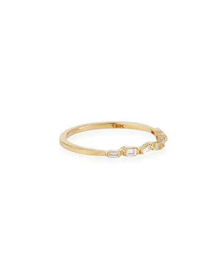Suzanne Kalan Fireworks Thin Baguette Band Ring in 18k Yellow Gold, Size 6.5