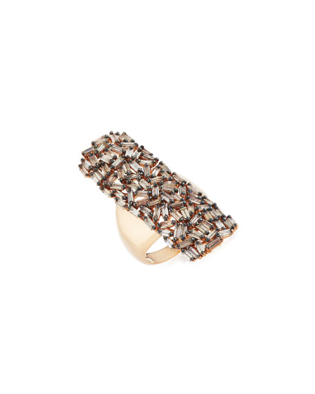Fireworks Diamond Long Cluster Ring in 18k Rose Gold, Size 6.5