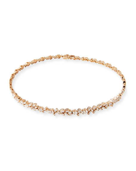 18K Rose Gold Diamond Baguette Choker Necklace, 2.25 tdcw