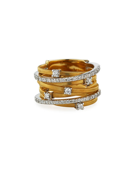 Marco Bicego Goa Stacked Seven-Row Crossover Ring with Diamonds oxVOdSea5z