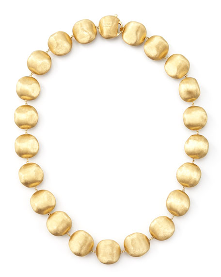 "Africa Gold Medium Bead Necklace, 17""L"