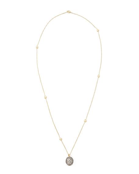 "African Pave Sapphire Pendant Necklace, 30""L"