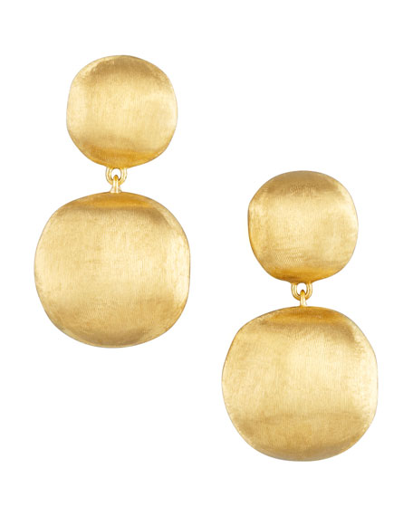 Africa Yellow Gold Two-Drop Earrings