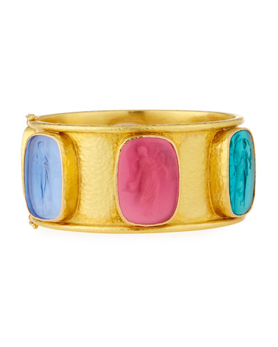 Elizabeth Locke Muse Intaglio 19k Gold Bangle, Pastel