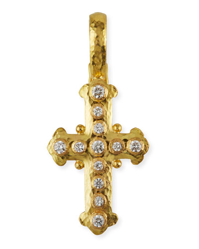 Elizabeth Locke 19k Gold Diamond Byzantine Cross Pendant