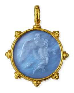 Elizabeth Locke Angel Glass Intaglio 19k Gold Pendant