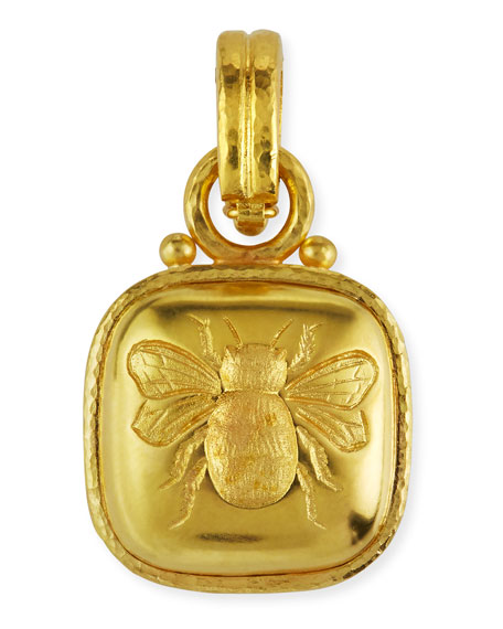 Elizabeth Locke 19k Cushion Gold Bee Pendant Neiman Marcus