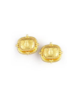 Elizabeth Locke 19k Gold Bee Clip/Post Earrings