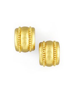 Elizabeth Locke Amalfi Granulated 19k  Gold Huggie Earrings