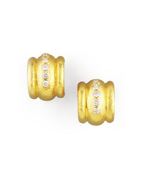 Elizabeth Locke Amalfi Diamond 19k Gold Huggie Earrings