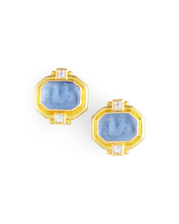 Elizabeth Locke Cherub & Sea Horse Intaglio Clip/Post Earrings, Cerulean