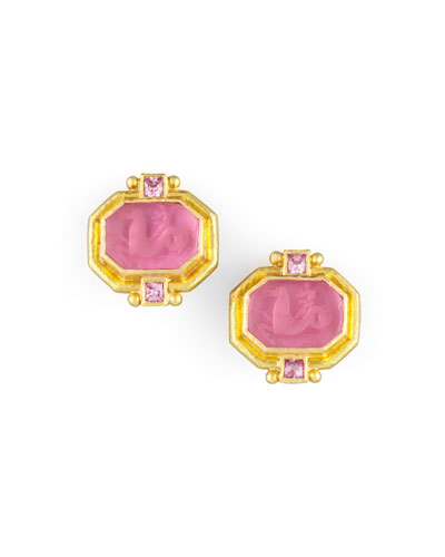 Elizabeth Locke Cherub & Sea Horse Intaglio Clip/Post Earrings, Pink