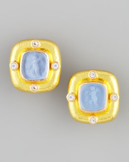 Elizabeth Locke Putto Intaglio Clip/Post Earrings, Cerulean