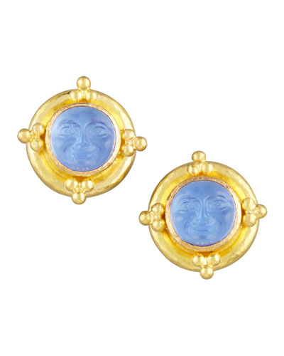 Elizabeth Locke Man-in-the-Moon Intaglio Stud Earrings, Cerulean
