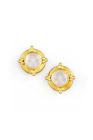 Elizabeth Locke Man-in-the-Moon Intaglio Stud Earrings, Crystal