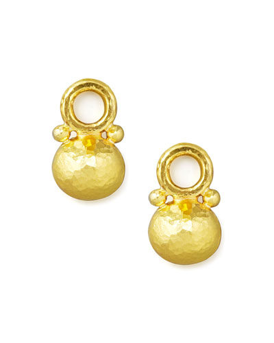 Elizabeth Locke Gold Horizontal Oval-Drop Earring Pendants