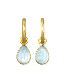 Elizabeth Locke Light Aqua Intaglio Teardrop Earring Pendants