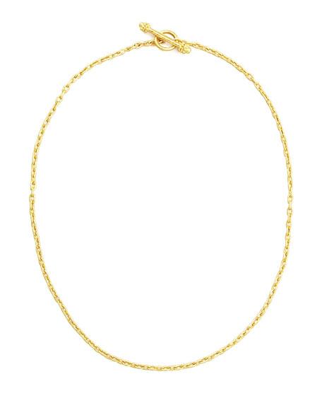 """19k Fine Gold Link Necklace, 17""""L"""