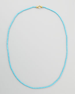 "Elizabeth Locke Turquoise Bead Necklace, 35""L"
