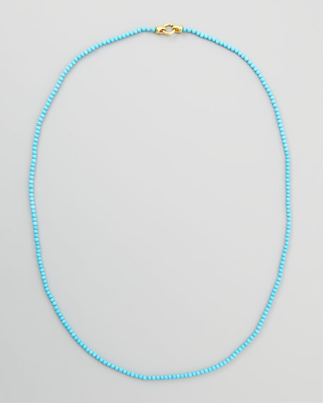 "Turquoise Bead Necklace, 35""L"