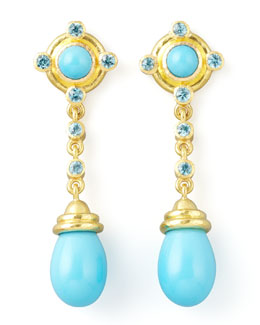 Elizabeth Locke 19k Gold Turquoise Drop Post Earrings
