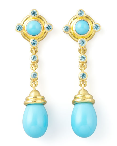 19k Gold Turquoise Drop Post Earrings