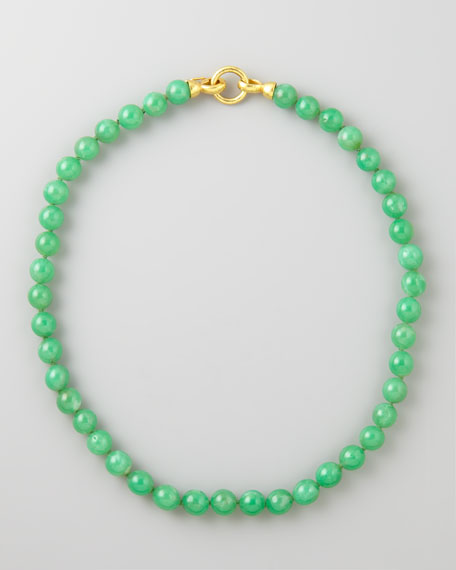 "Chrysoprase Bead Necklace, 17""L"