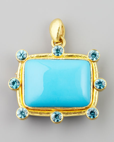 Turquoise Cushion Brooch/Pendant