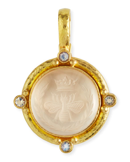elizabeth locke rock crystal queen bee intaglio pendant