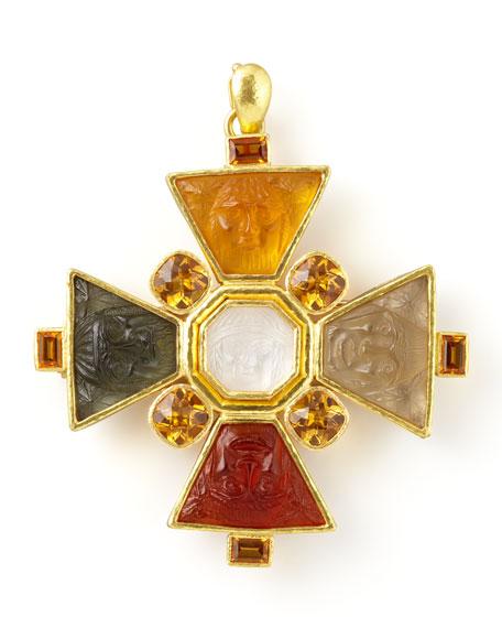 Bomarzo 19k Gold Venetian Glass Brooch/Pendant