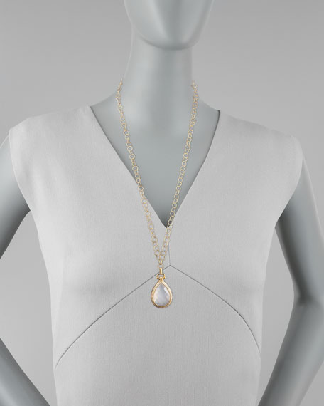 Snow Quartz & Diamond Teardrop Locket Necklace