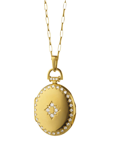 Petite Snowflake Pave Diamond 18k Gold Locket Necklace