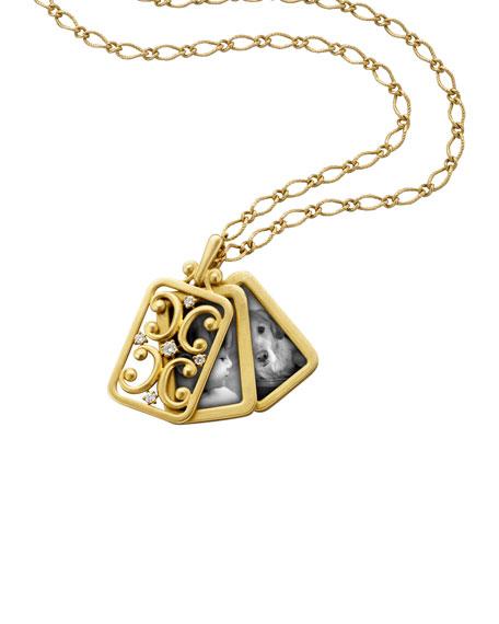 18k Gold Rectangular Gate Pendant Necklace
