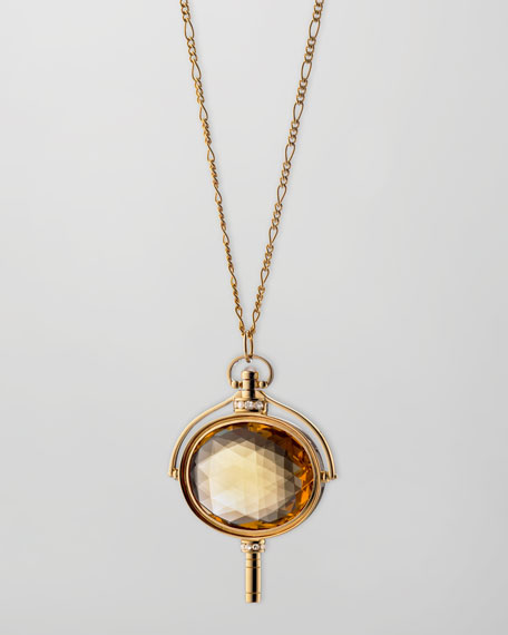 Monica Rich Kosann Pocket Watch Key Honey Quartz