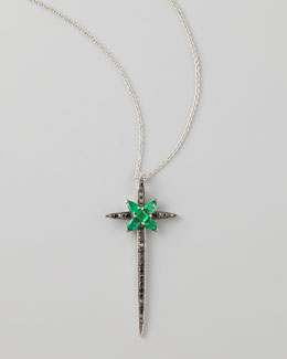 Stephen Webster Belle Epoque 18kt Diamond/Emerald Skinny Cross Pendant Necklace
