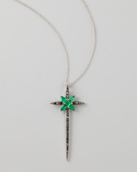 Belle Epoque 18kt Diamond/Emerald Skinny Cross Pendant Necklace