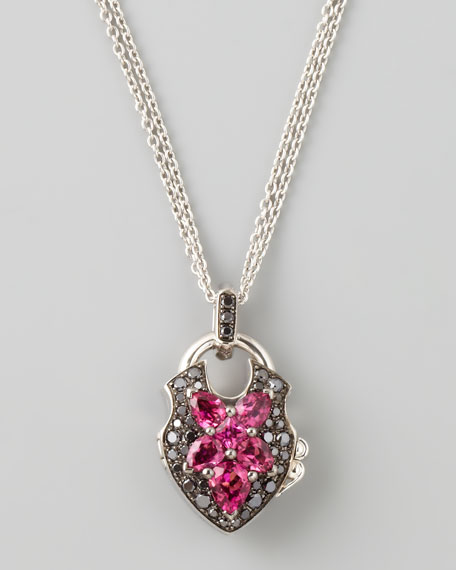 Belle Epoque 18kt Padlock Diamond Rubelite Pendant Necklace