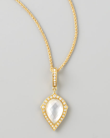 18k Gold Mini Midnight Haze Quartz Diamond Pendant Necklace