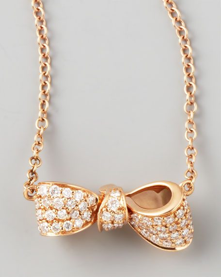 Bow 18k Rose Gold Diamond Necklace