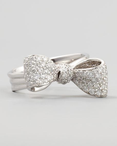 Bow Small 18k White Gold Diamond Ring, Sz 6