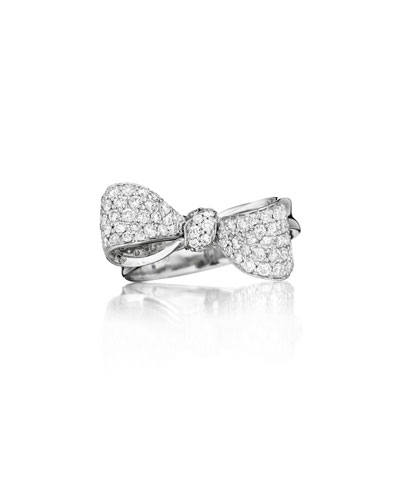 Bow Small 18k White Gold Diamond Ring Size 6