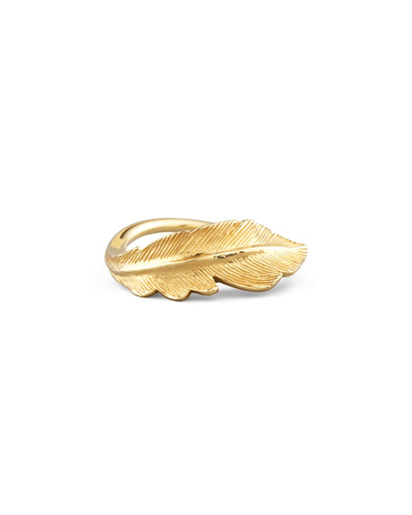 Phoenix 18k Gold Feather Ring