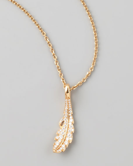 Phoenix 18k Rose Gold Diamond Feather Necklace