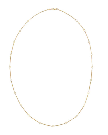 "24"" Yellow Gold Diamond Station Necklace, 1.04ct"
