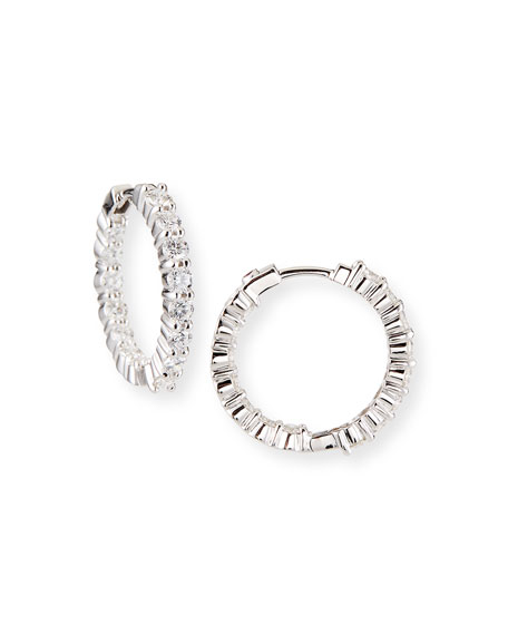 23mm White Gold Diamond Hoop Earrings, 2.35ct